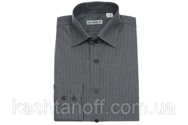Сіра приталені сорочка в смужку