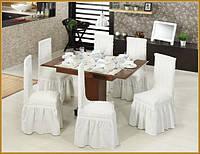 Чехлы  для стульев кремовые (набор 6 шт.)