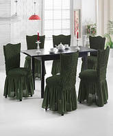 Чехлы  для стульев зеленые (набор 6 шт.)
