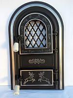 Дверцы печные со стеклом Олени