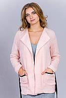 Нежно-розовая вязаная кофта
