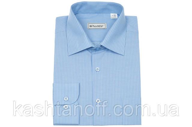 Мужская рубашка светло-голубого цвета в белую полоску