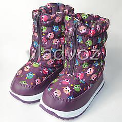 Модные дутики на зиму для девочки сапоги фиолетовые 26р. совушки
