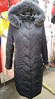 Длинная женская зимняя куртка серая Моника