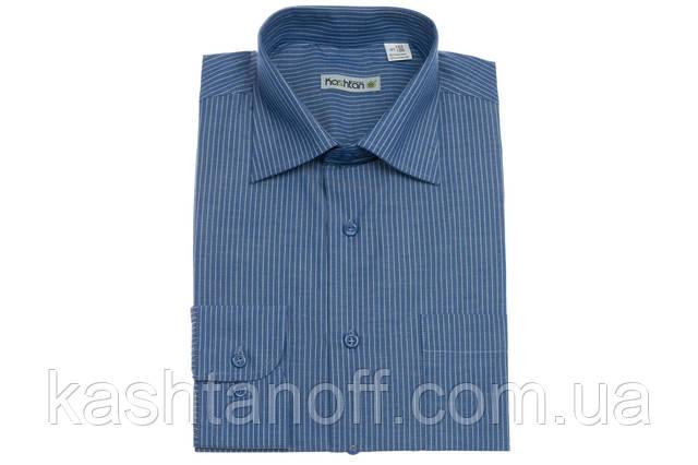 Синяя рубашка Каштан в полоску