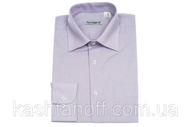 Сиреневая рубашка Каштан в полоску 100% хлопок
