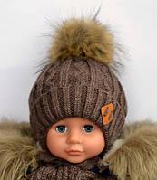 Искусственный мех, зимняя шапка на флисе для мальчика Енот, шоколад (ОГ 48-52, 52-56)