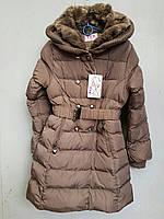 Куртка зимняя на девочку под пояс TYK.