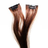 Прядь натуральных волос на заколке шоколадная, фото 1