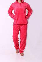 Теплый женский костюм для дома кораллового цвета 4552/1