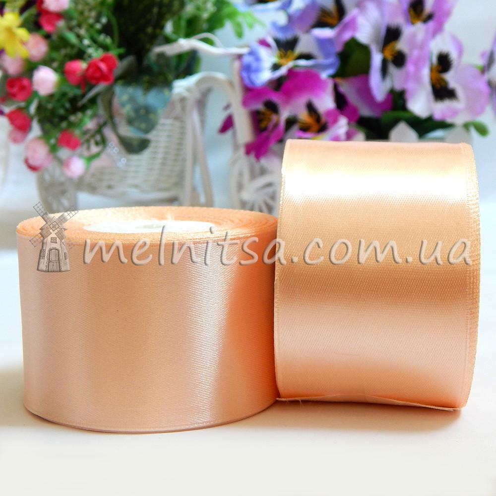 Атласная лента 5 см, №7 персиковый, рулон 23 м