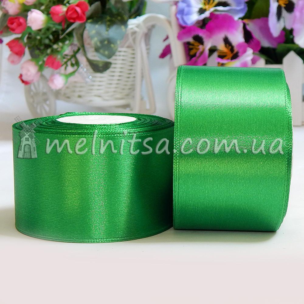 Атласная лента 5 см, №19 зеленый, рулон 23 м