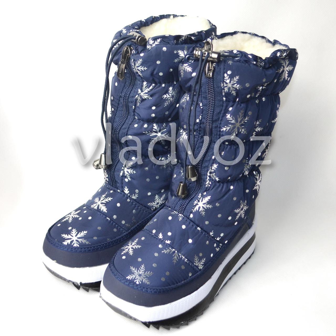 Модные дутики на зиму для девочки сапоги синие снежинки спереди змейка 32р.