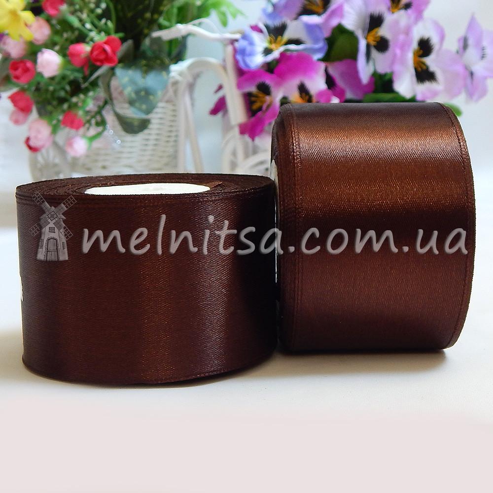 Атласная лента 5 см, №32 коричневый, рулон 23 м