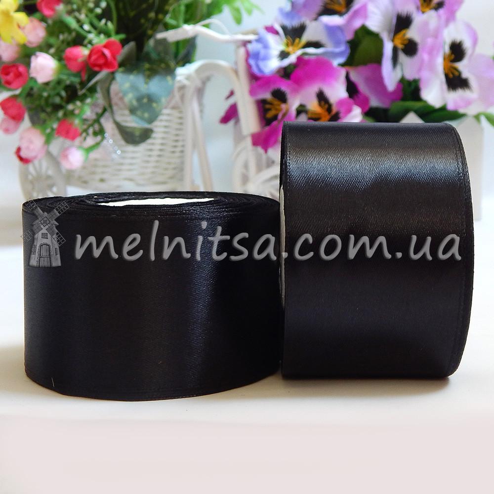 Атласная лента 5 см, №39 черный, рулон 23 м
