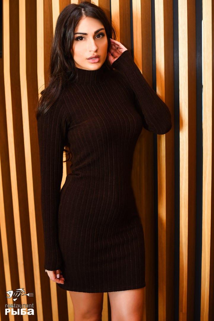 6fdfb709b1d Женское теплое короткое платье ангора в рубчик под горло - Стильная женская  одежда оптом