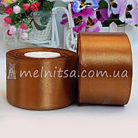 Атласная лента 5 см, №158 св.коричневый, рулон 23 м