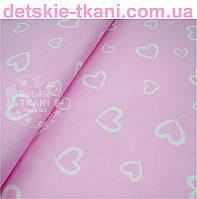 """Ткань бязь """"валентинка на розовом"""" (№112)."""