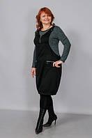 Платье женское оптом (черное с серым) полномерных размеров, производство украина