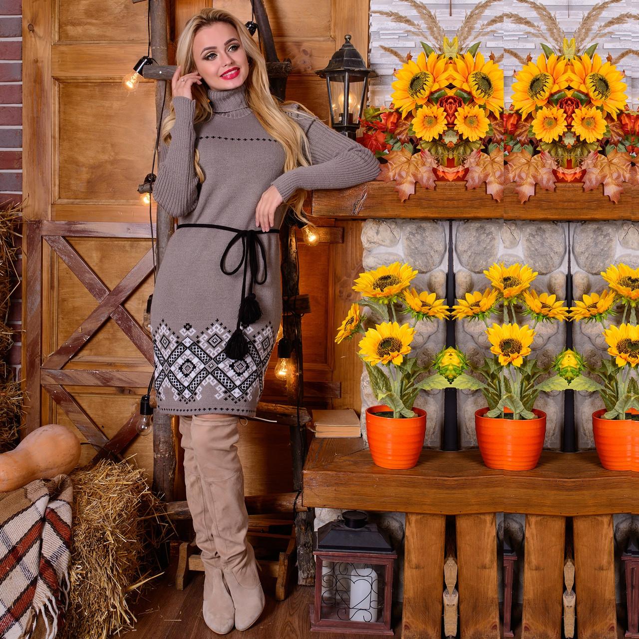 49789931b60 Вязаное платье с орнаментом и поясом М 777601  продажа