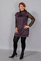 Туника женская без рукава французский трикотраж полномерные размеры (фиолетовая)