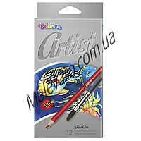 Карандаши акварельные premium + кисточка для рисования,  , серия  Artist,  12 цветов