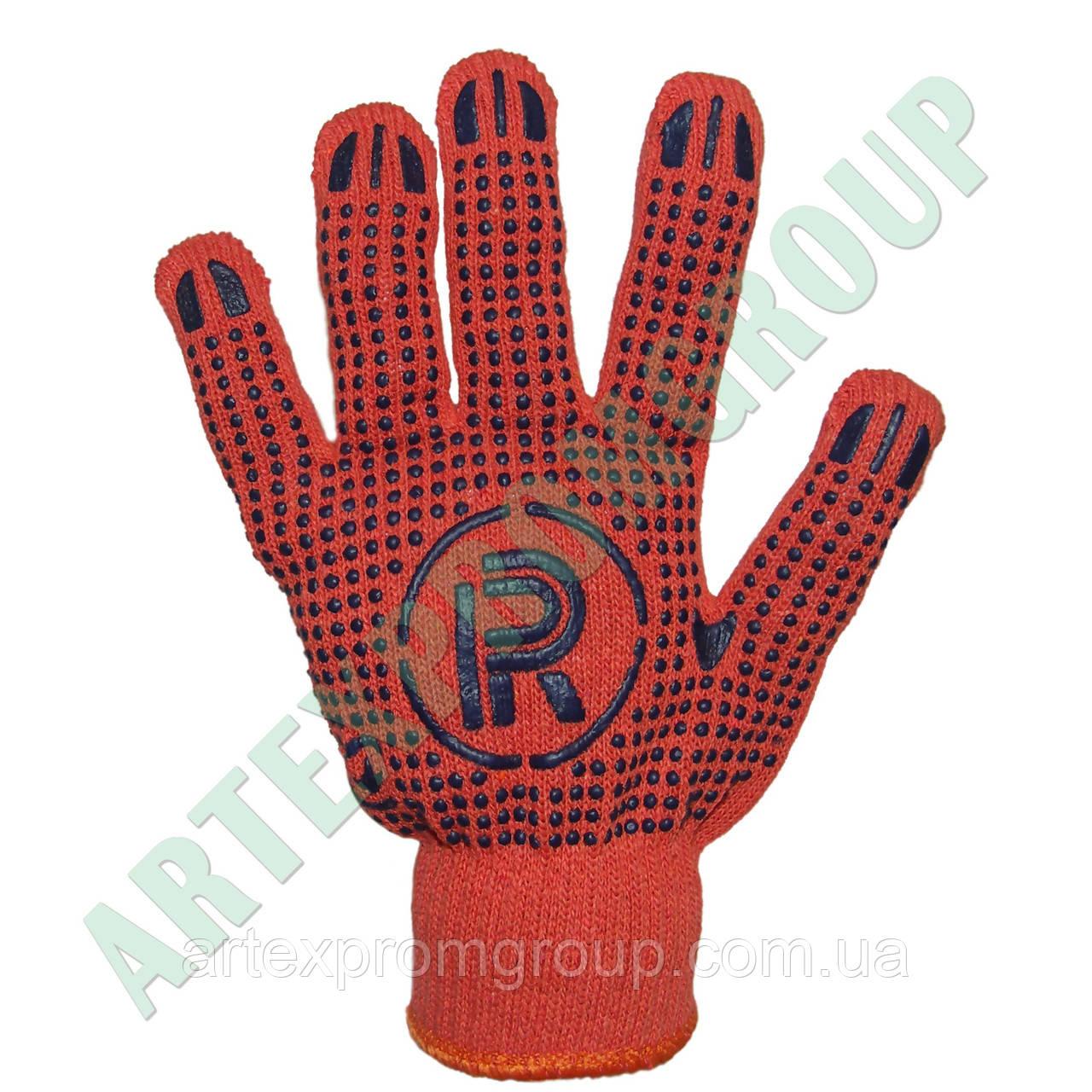 Перчатки трикотажные с точкой ПВХ оранжевые (Украина)