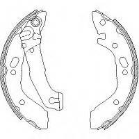 Колодки тормозные задние, барабанные SANGSIN SA046, 5830525A01; HYUNDAI 5830524A20, 5830525A01 на Хундай Пони