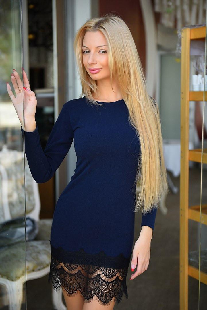 459297e340f Шикарное теплое платье ангора с французким кружевом - Стильная женская  одежда оптом