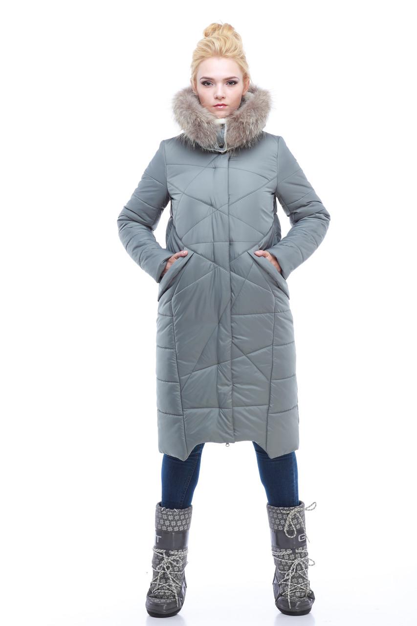 Пуховик - пальто зимнее женское серое с мехом енота размеры 54 размер