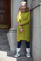 Пуховик - пальто зимнее женское с мехом енота