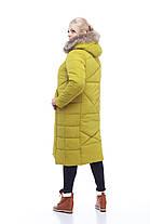 Пуховик - пальто зимнее женское серое с мехом енота размеры 54 размер, фото 2