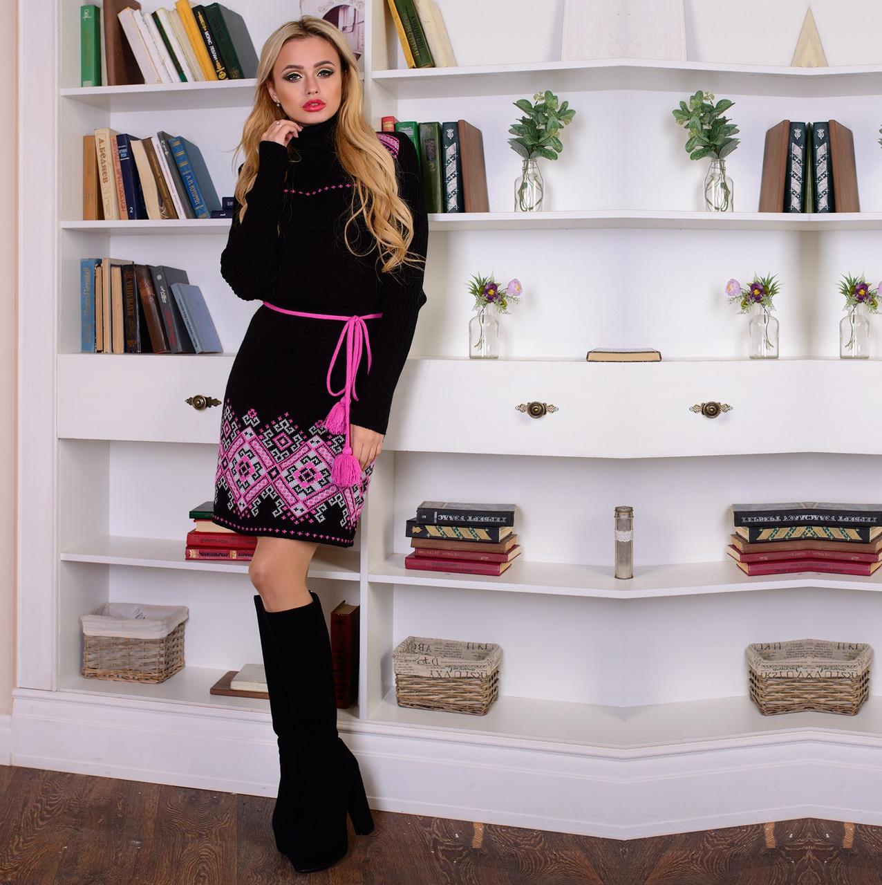 98ca88f19d6 Вязаное платье с орнаментом и поясом М 777601 Черный - Интернет-магазин  Леди-лайн