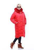 Пуховик - красное пальто зимнее женское с мехом енота в цвет изделия 42 44, 46, 48,50