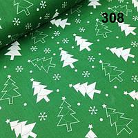Хлопковая ткань с белыми елочками на зеленом фоне №308