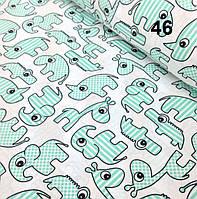 Хлопковая ткань с носорогами мятного цвета на белом фоне № 46