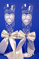 """Бокалы свадебные """"Розы"""" белые"""