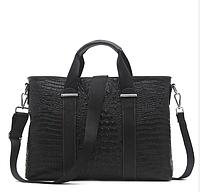 Мужской портфель - сумка на ремне Cross Ox из натуральной кожи под кожу крокодила