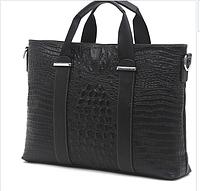 Мужской портфель на ремне Cross Ox из натуральной кожи под кожу крокодила для ноутбука