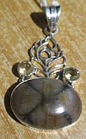 """Ажурный серебряный кулон с хиастолитом (андалузитом) и цитрином  """"""""Павлин"""", от студии LadyStyle.Biz"""