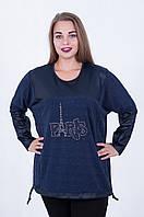 Стильная женская батальная блуза-туника с вставками из эко-кожи