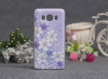Чехол для Samsung Galaxy J510/J5 - 2016 с картинкой цветы на фиолетовом фоне
