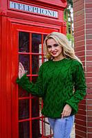 Стильный вязанный теплый женский свитер зеленого цвета