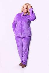 Уютная махровая женская пижама сиреневого цвета