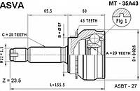 Mi-35a43-hdk_шрус наружный! abs\ mitsubishi lancer 1.8 cvt 00> HDK MI35A43, MI35, MI35BGN; ASVA MT35A43