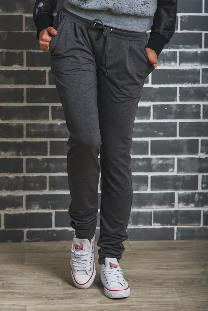 Женские спортивные штаны на манжете темно-серые, фото 1