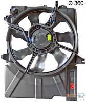 Диффузор радиатора охлаждения, в сборе с мотором и крыльчаткой HYUNDAI 253801C260, 253801C250 на Хундай Гец
