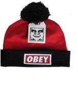 Шапка Obey красно-черная с помпоном