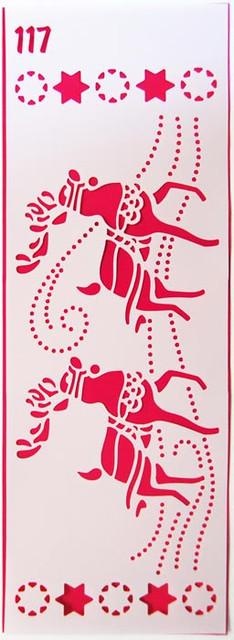 Трафарет многоразовый 117 Новогодние олени(код 02465)