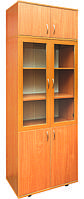 Шкаф книжный с стеклянными дверцами в рамочном фасаде 802х403х2186 мм